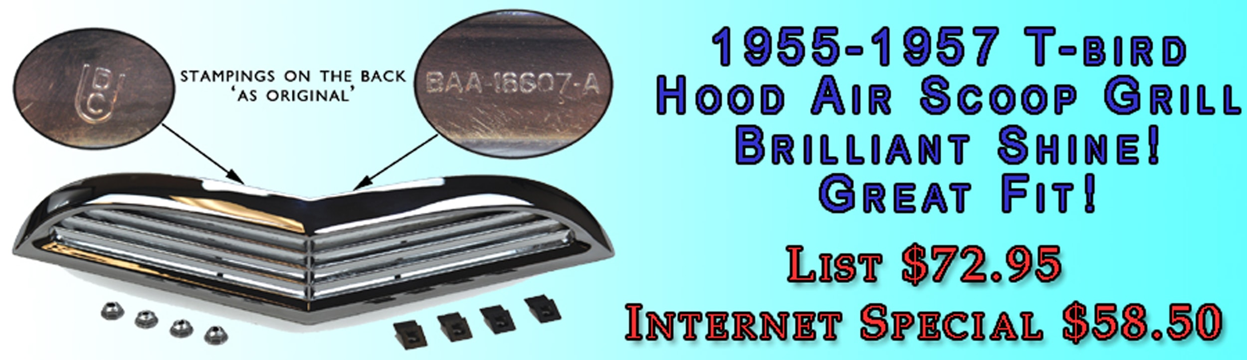 Ford Restoration Parts For Classic Thunderbird Cars Trucks 1955 F100 Truck Project 1957 T Bird Hood Air Scoop Grill